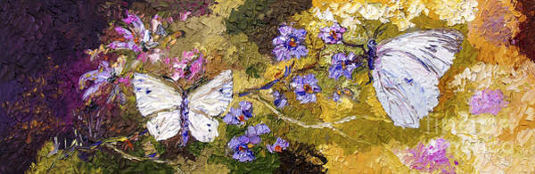 White Butterflies Impressionist Oil Painting Poster