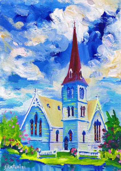 White Church Blue Sky Poster