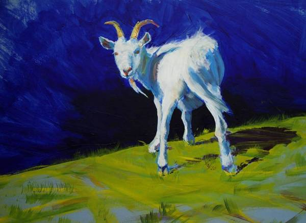 White Goat Painting Poster