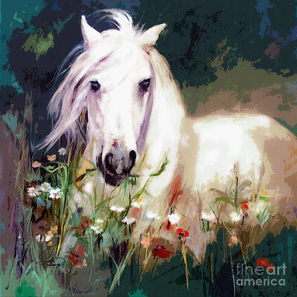 White Stallion In Wildflower Field Poster