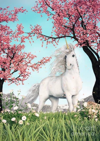 White Unicorn Amongst Cherry Trees Poster