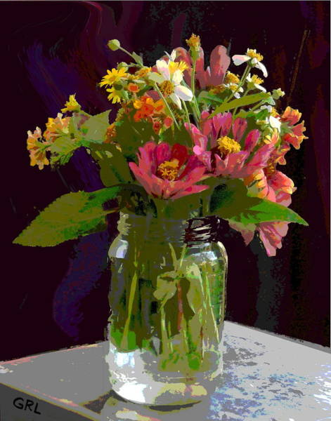 Poster featuring the painting Wildflowers And Zinnias In A Jar  Contemporary Digital Art by G Linsenmayer