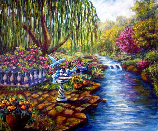 Willow Tree By The Stream Poster