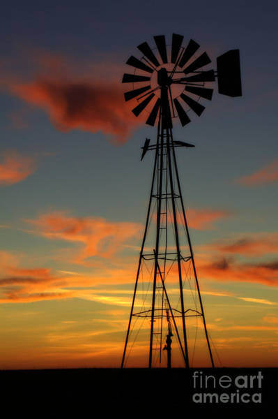 Windmill At Sunset 1 Poster