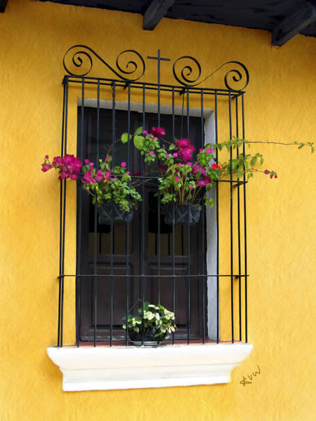 Window At Old Antigua Guatemala Poster