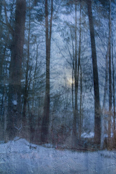 Winter Early Morning Setting Moon Poster