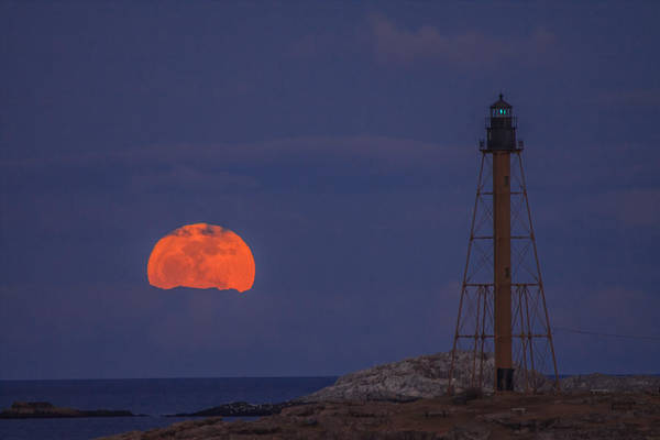 Winter Moon Rising Over Marblehead Light Poster