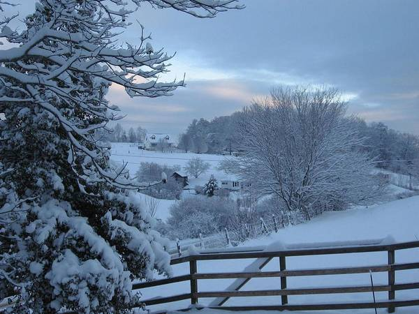 Blue Ridge Mountain Snowy Morning Poster