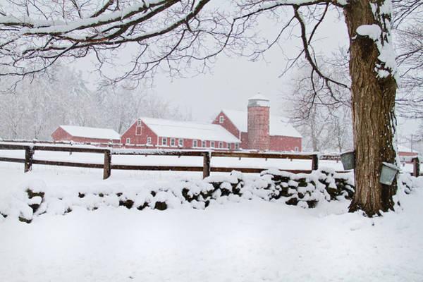 Winter New England Farm Poster