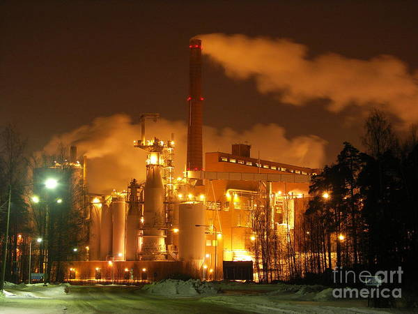 Winter Night At Sunila Pulp Mill Poster