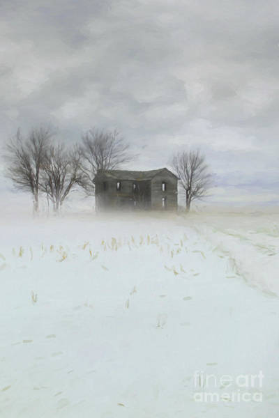 Winter Scene Of A Farmhouse/digital Painting Poster