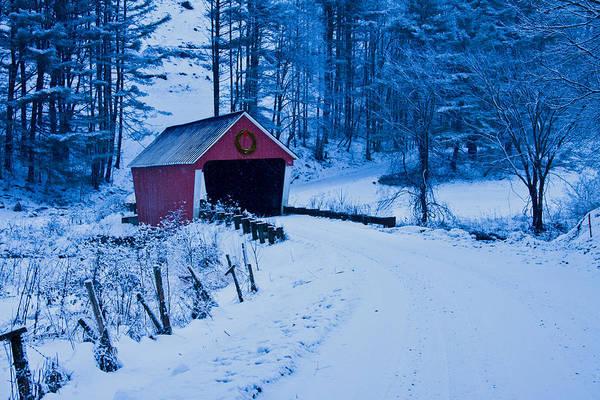 winter Vermont covered bridge Poster