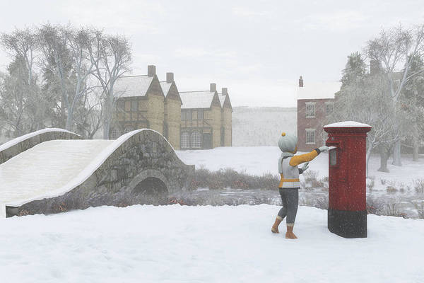 Winter Village With Postbox Poster