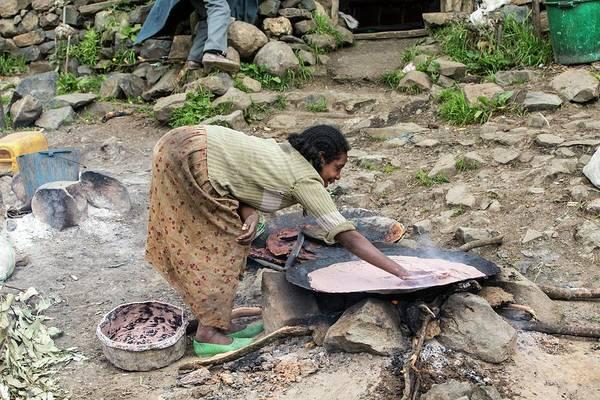 Woman Cooking Injera Poster