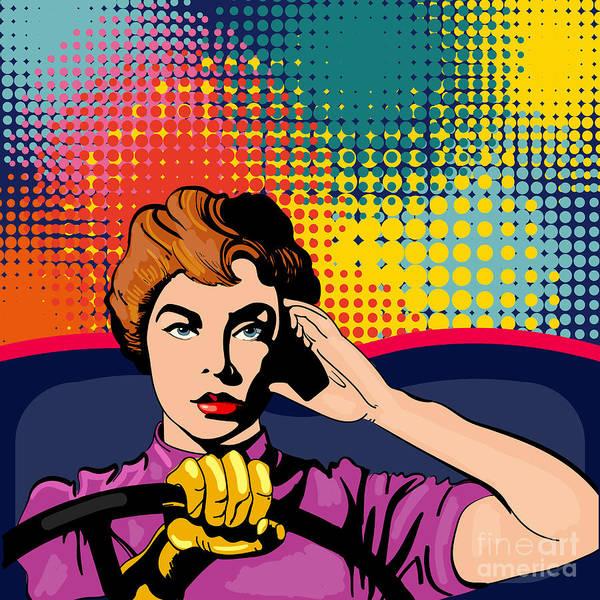 Woman Driving A Car Pop Art Vector Poster