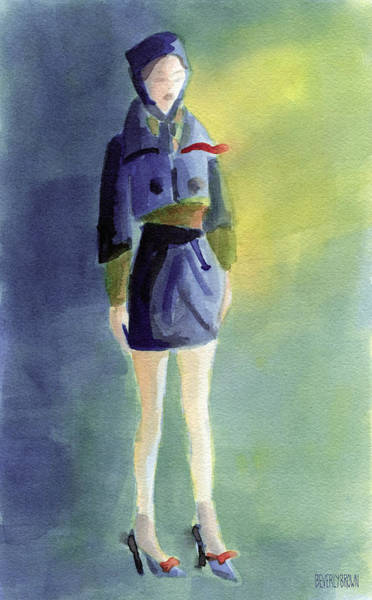 Woman In A Pillbox Hat Fashion Illustration Art Print Poster