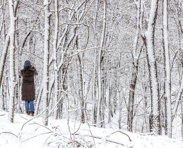 Woman In A Snow Covered Forest Poster