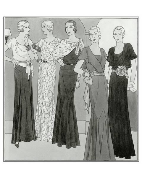 Women Wearing Designer Dresses Poster