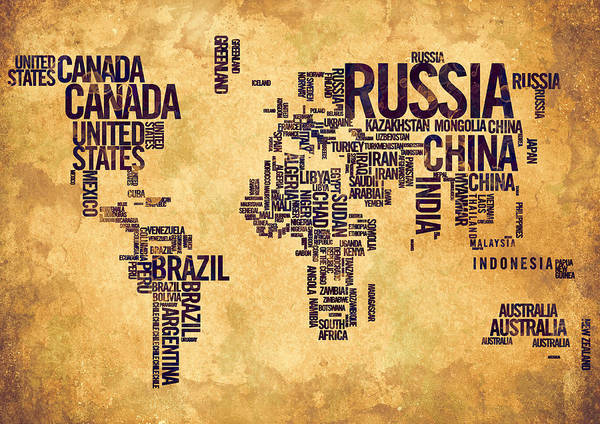 World Map Typography 6 Watercolor Painting Poster