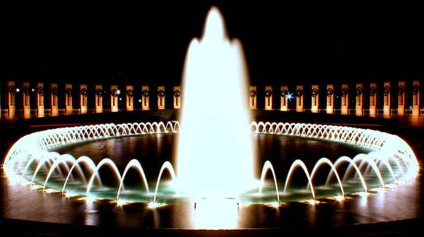 World War II Memorial And Fountain At Night Poster