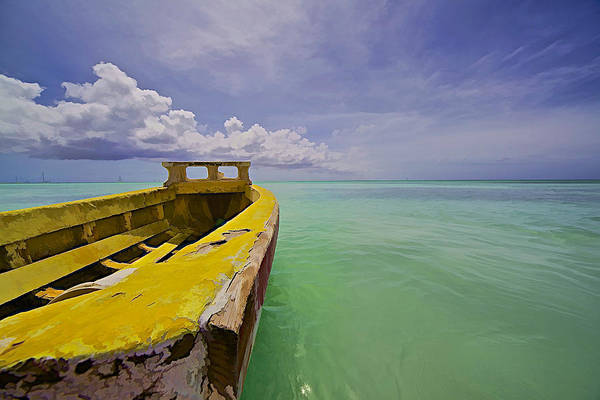 Worn Yellow Fishing Boat Of Aruba II Poster