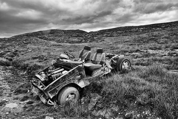 Wrecked Car On Mountain Poster