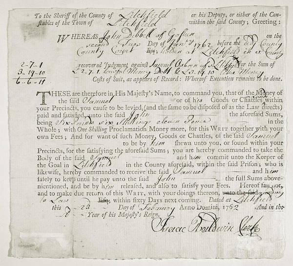 Writ Of Debt, 1762 Poster