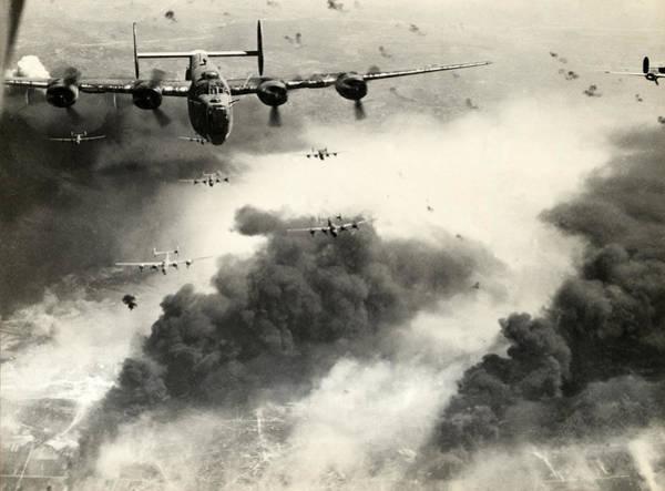 Wwii B-24 Liberators Over Ploesti Poster