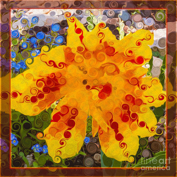 Yellow Lily With Streaks Of Red Abstract Painting Flower Art Poster