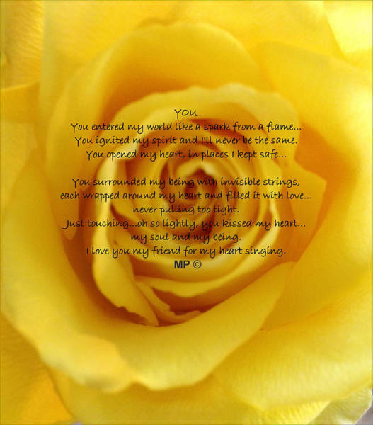 You Poem On Yellow Rose Poster