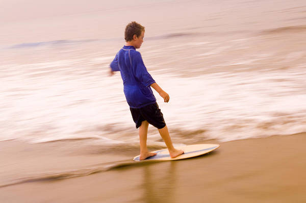 Young Boy Skimboarding, Santa Barbara Poster