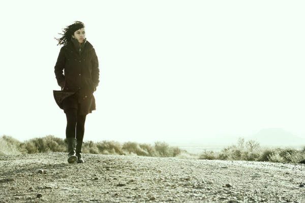 Young Woman Walking Alone In Spain Poster