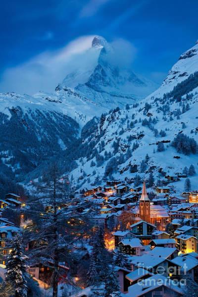 Poster featuring the photograph Zermatt - Winter's Night by Brian Jannsen