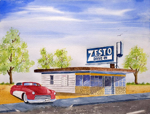 Poster featuring the painting Zesto Drive In by Rich Stedman