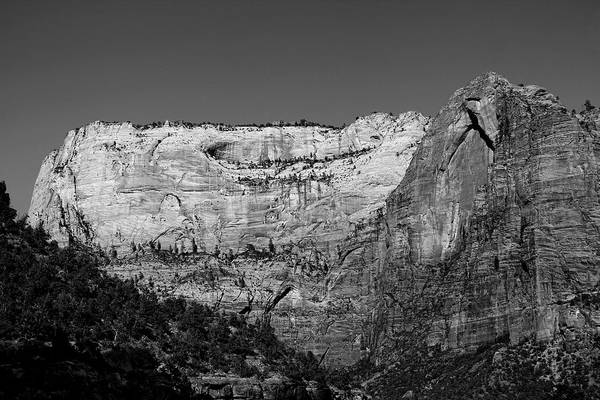 Zion Cliff And Arch B W Poster