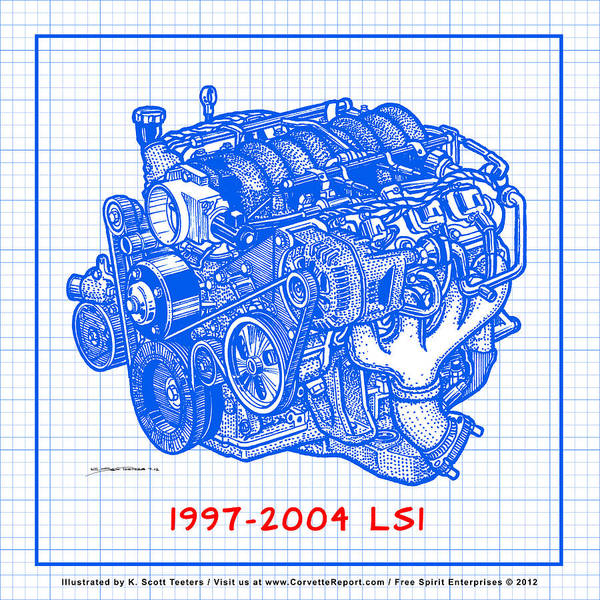 1997 - 2004 Ls1 Corvette Engine Blueprint Poster