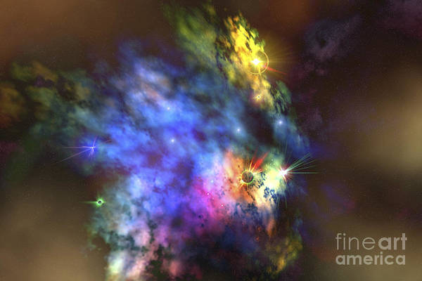A Colorful Nebula In The Universe Poster