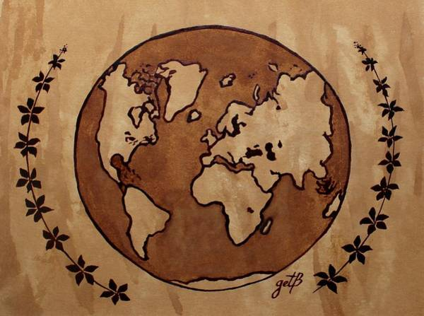 Abstract World Globe Map Coffee Painting Poster