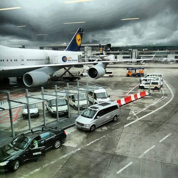 #airport #manchester #plane #car #cloudy Poster