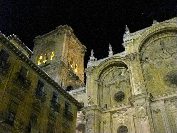 Amazing Exterior Architecture Of Cathedral At Night Granada Spain Poster