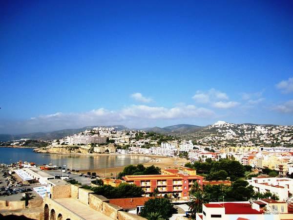Beautiful Peniscola Beach Ocean View Homes Blue Sky In Spain Poster