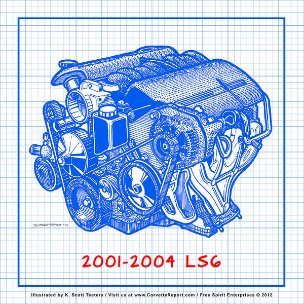 C5 2001 - 2004 Ls6 Z06 Corvette Engine Blueprint Poster
