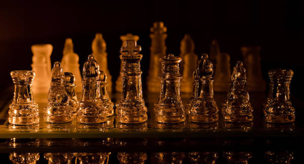 Candle Lit Chess Men Poster