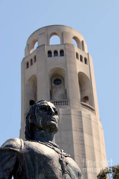 Coit Tower Statue Columbus Poster