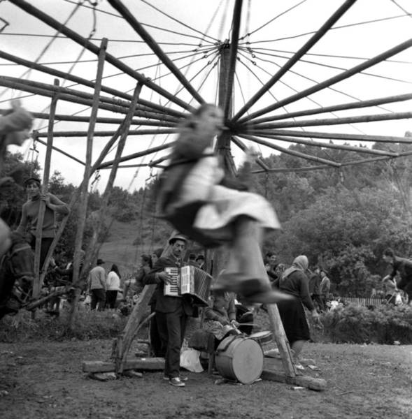 Poster featuring the photograph Country Fair Swings With Accordion by Emanuel Tanjala