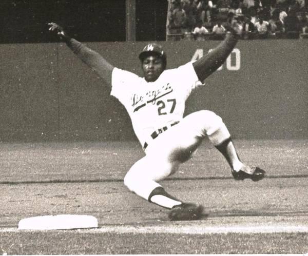 Dodger Willie Crawford Sliding Into Third Poster