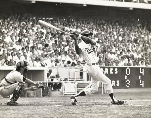Dodger Willie Davis Batting At Dodger Stadium  Poster