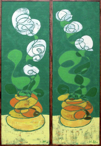 Floral Diptych In Green And Orange Poster
