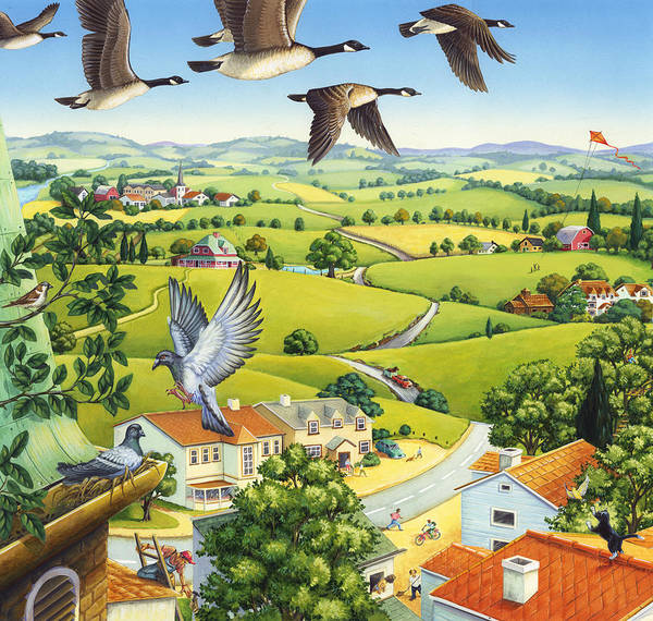 Geese Above The Town Poster
