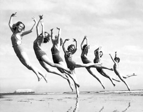 Graceful Line Of Beach Dancers Poster